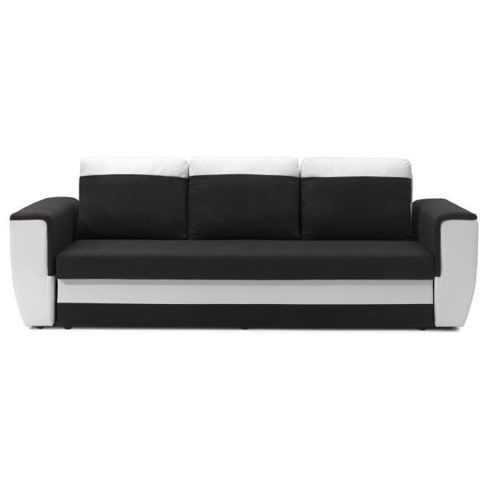 brugges canap droit convertible lit 3p gris blanc achat. Black Bedroom Furniture Sets. Home Design Ideas