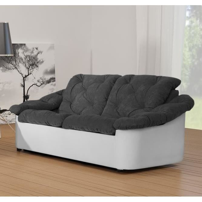 scala canap droit 2 places bi mati re gris blanc achat vente canap sofa divan tissu. Black Bedroom Furniture Sets. Home Design Ideas