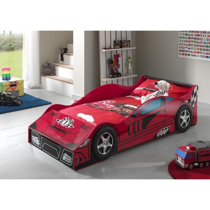 toddler lit enfant voiture sommier 70 x 140 cm rouge laqu achat vente structure de lit. Black Bedroom Furniture Sets. Home Design Ideas