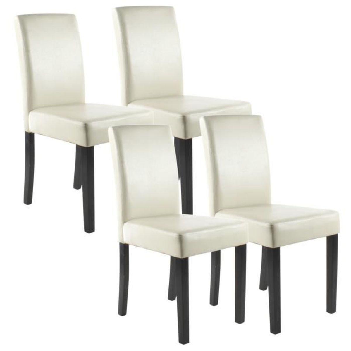 Clara lot de 4 chaises de salle manger ivoire achat for Chaise de salle a manger par 4