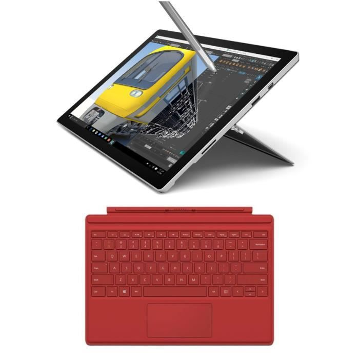 surface pro 4 i5 4go 128go clavier type cover red prix pas cher cdiscount. Black Bedroom Furniture Sets. Home Design Ideas