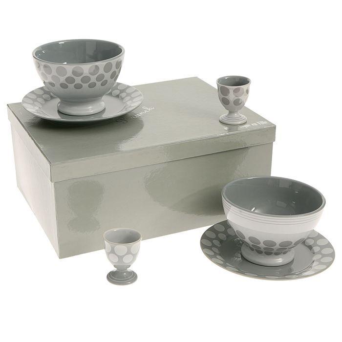 coffret duo brunch porcelaine pois gris achat vente bol mug mazagran coffret duo brunch. Black Bedroom Furniture Sets. Home Design Ideas