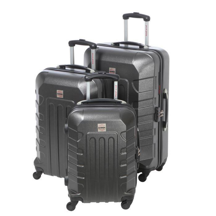 murano set de 3 valises trolley 4 roues gris fonc achat vente set de sacs de voyage murano. Black Bedroom Furniture Sets. Home Design Ideas