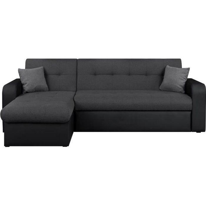 roman canap d 39 angle r versible convertible en simili et tissu 4 places 235x85 153x81 cm. Black Bedroom Furniture Sets. Home Design Ideas
