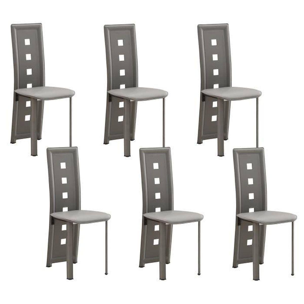 Kim lot de 6 chaises de salle manger grises achat vente chaise cdiscount - Lot de 6 chaises salle a manger ...