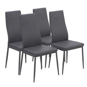 CHAISE MAT Lot de 4 chaises de salle à manger en simil...