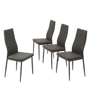 CHAISE SAM Lot de 4 chaises de salle à manger grises