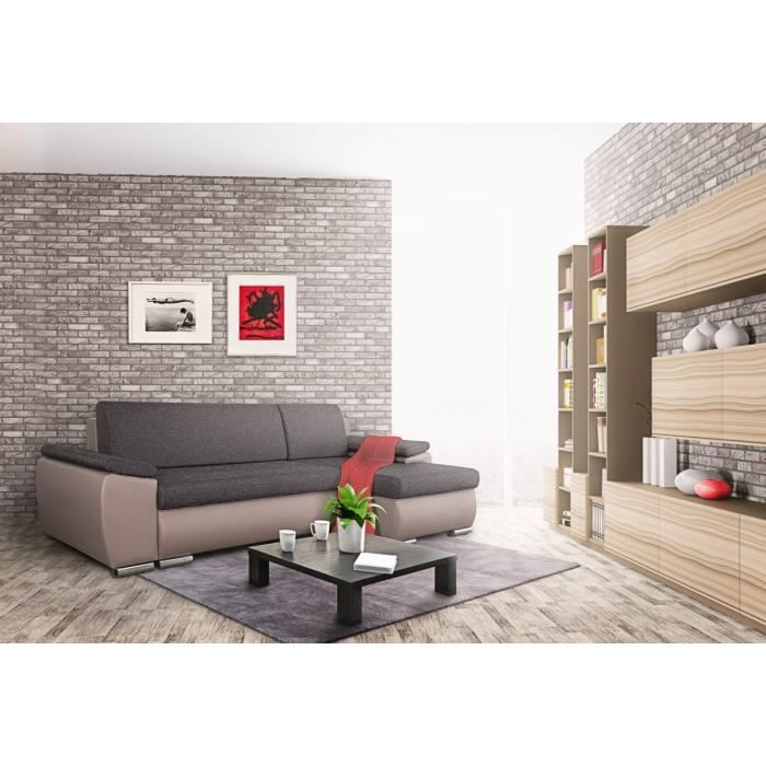 Bern canap d 39 angle convertible 3 places taupe achat for Canape d angle taupe