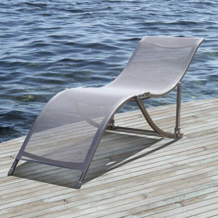 Basic transat acier gris achat vente chaise longue for Transat jardin gris