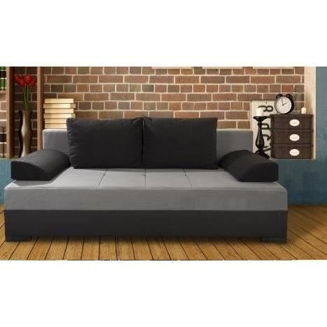 City banquette convertible noir gris achat vente canap sofa divan re - Banquette convertible but ...