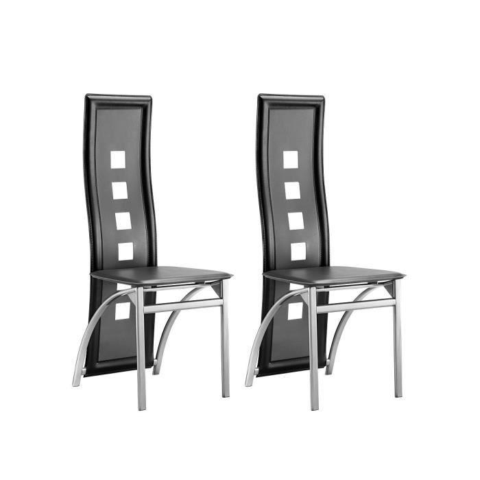 eiffel lot de 2 chaises de salle manger noir et gris. Black Bedroom Furniture Sets. Home Design Ideas