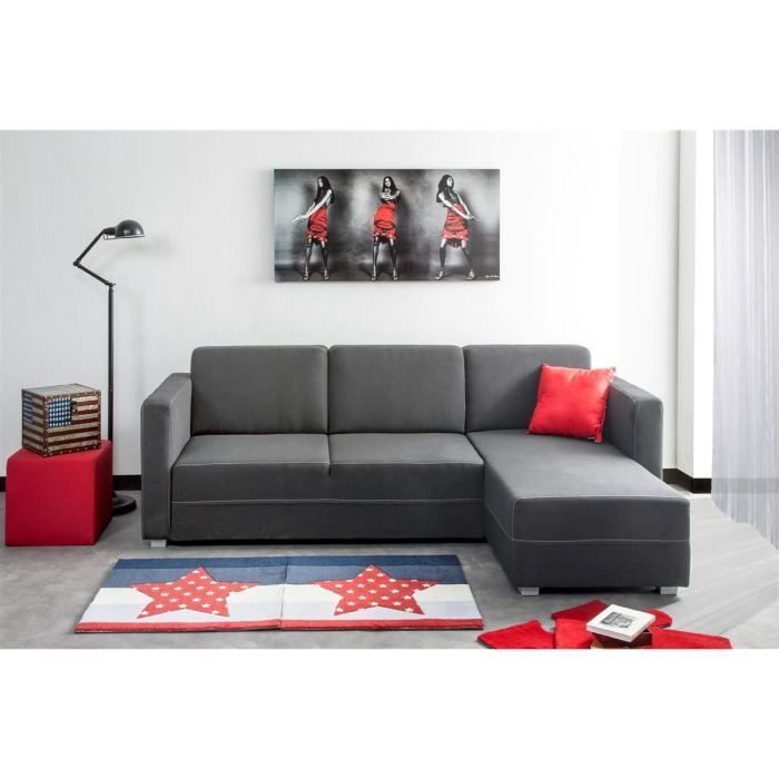 Hill canap angle r versible 4 places tissu gris achat for Canape d angle reversible