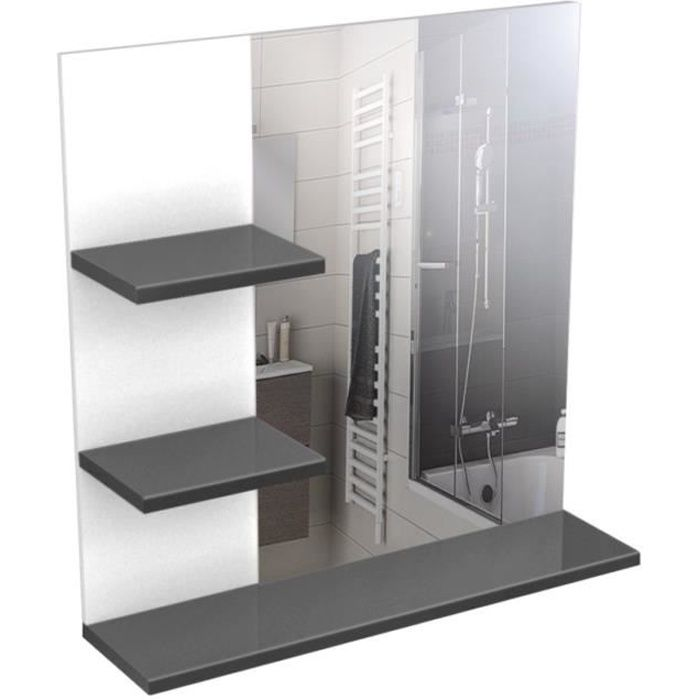 Corail meuble miroir de salle de bain l 60 cm gris laqu for Miroir 60 cm de large