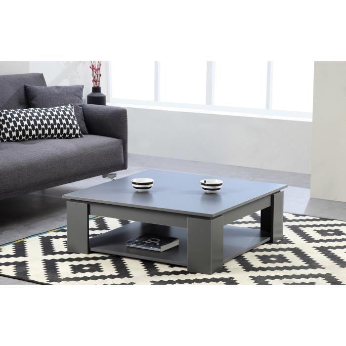 Manhattan table basse carr e gris achat vente table for Table basse carree grise