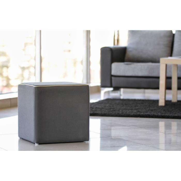 pouf gris anthracite carr en toile passe poil achat vente pouf poire pouf carr gris. Black Bedroom Furniture Sets. Home Design Ideas
