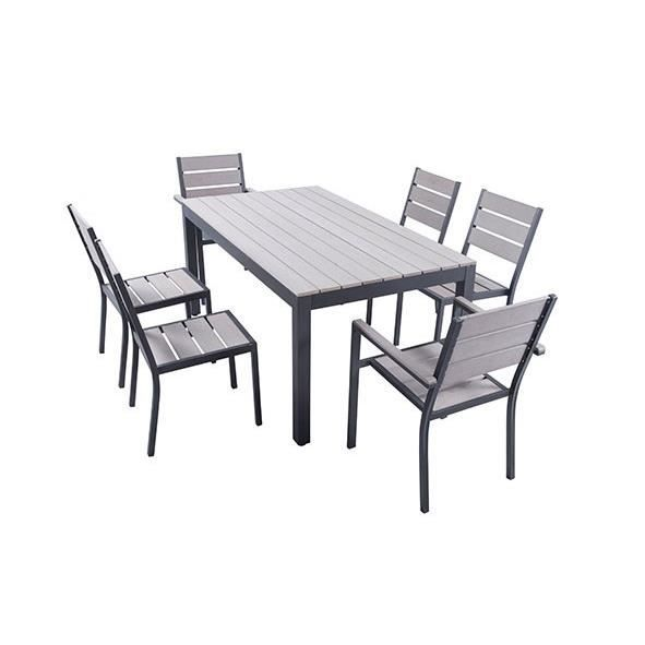 Ensemble table de jardin 160 cm 2 fauteuils 4 chaises aluminium gris clai - Ensemble table et chaise de jardin aluminium ...