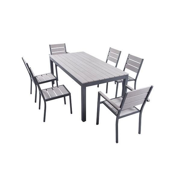 Ensemble Table 180 Cm 2 Fauteuils 4 Chaises Aluminium