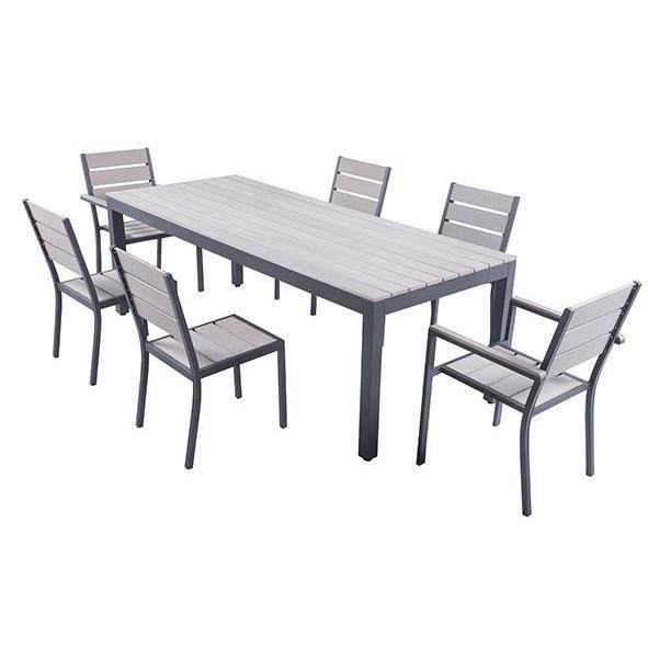 Ensemble Table 220 Cm 2 Fauteuils 4 Chaises Aluminium