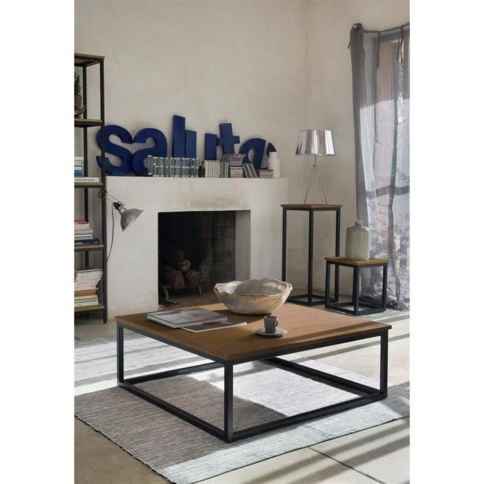 Facto table basse carr e style industriel pieds en m tal for Table carree style industriel