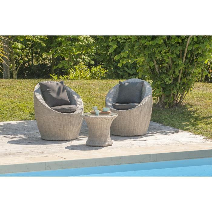 Dcb Garden Salon De Jardin Totem Portovecchio 1 Table Basse Et 2 Fauteuils En R Sine Tress E