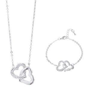 PARURE Parure Collier avec Pendentif Cœurs et Bracelet L&
