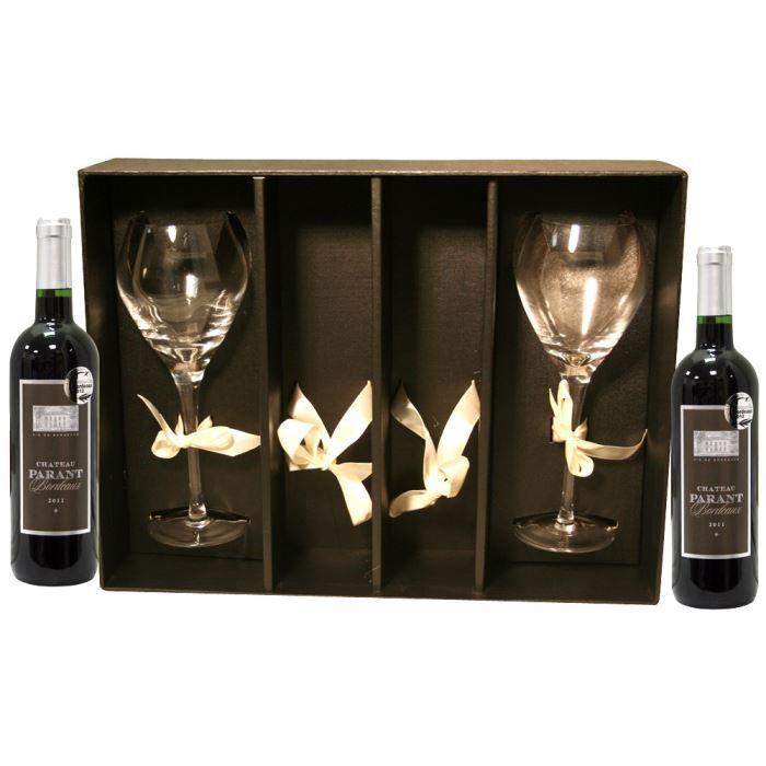 coffret cadeau 2 verres et 2 ch teau parant 2011 achat vente coffret cadeau vin boite es08. Black Bedroom Furniture Sets. Home Design Ideas