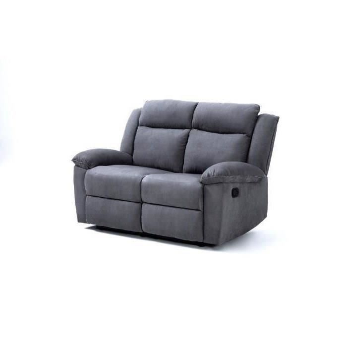 Relaxo canap de relaxation 2 places 144x93x96 microfibre gris achat - Canape relaxation microfibre ...