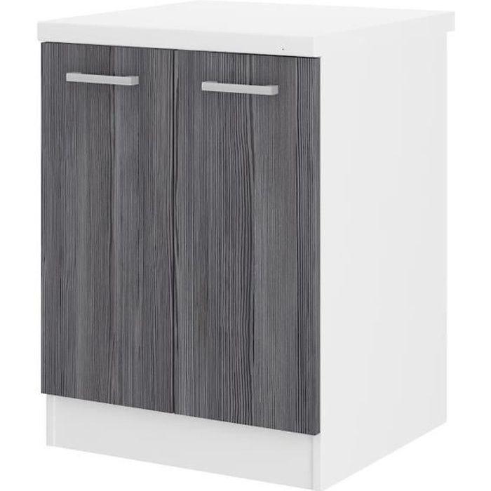 Ultra meuble bas de cuisine 60 cm avec plan de travail inclus d cor ch ne gris achat vente for Meuble bas de cuisine avec plan de travail