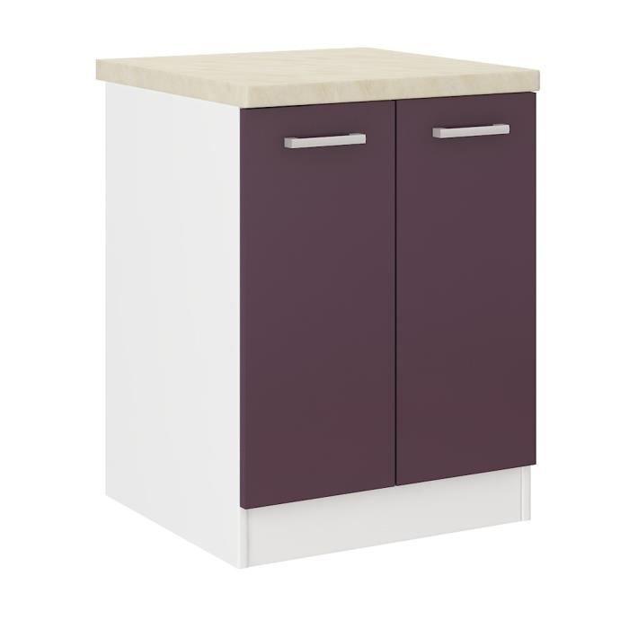 Ultra meuble bas de cuisine 60 cm aubergine mat achat for Meuble cuisine element bas