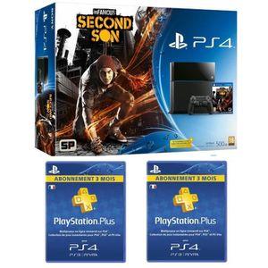 Pack PS4 500 Go+Jeu Infamous+2 Abonnements 3 mois