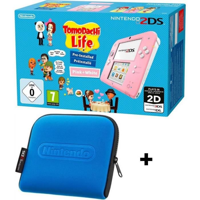 Pack nintendo 2ds rose tomodachi housse bleue achat for Housse 2ds pokemon