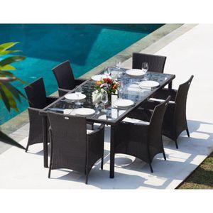 Ensemble table 220cm et 6 fauteuils r sine tress e gris anthracite achat - Table de jardin discount ...