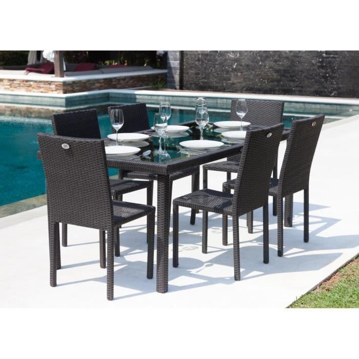 Mobilier table table et chaise en resine tressee for Table de jardin tresse