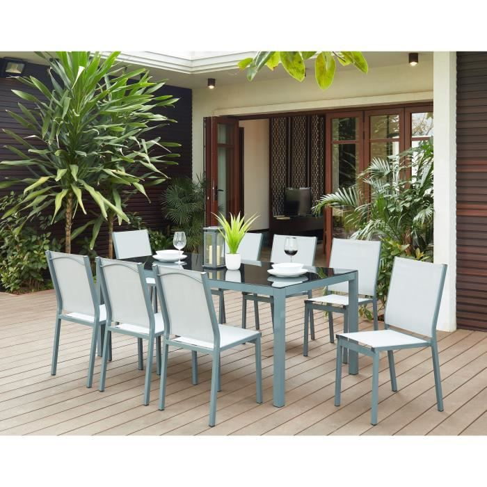Ensemble De Jardin Tahiti 6 Places En Aluminium Gris Anthracite Achat Vente Salon De