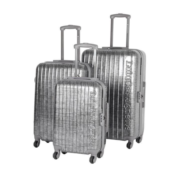 lulu castagnette set de valises argent achat vente set de valises lulu castagnette valises. Black Bedroom Furniture Sets. Home Design Ideas