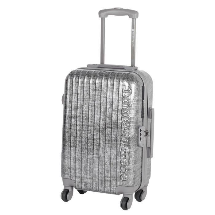 lulu castagnette valise trolley 4 roues 48 cm argent. Black Bedroom Furniture Sets. Home Design Ideas