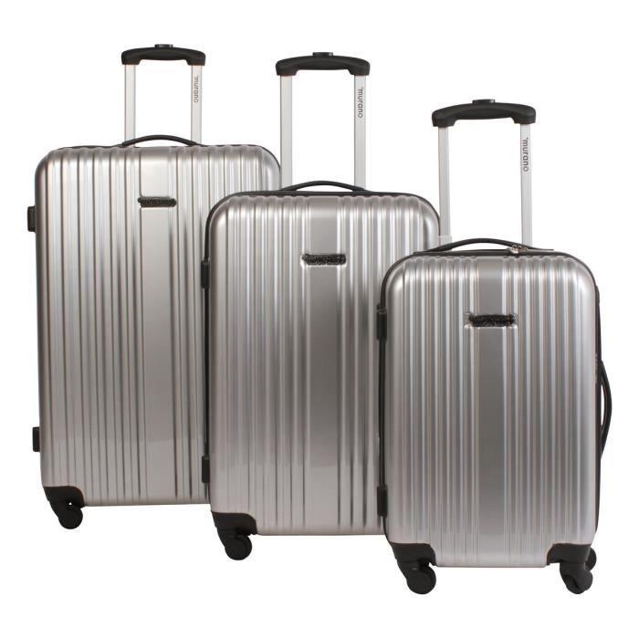 murano set de 3 valises abs polycarbonate blc 4 roues 51 61 71 cm argent argent achat. Black Bedroom Furniture Sets. Home Design Ideas