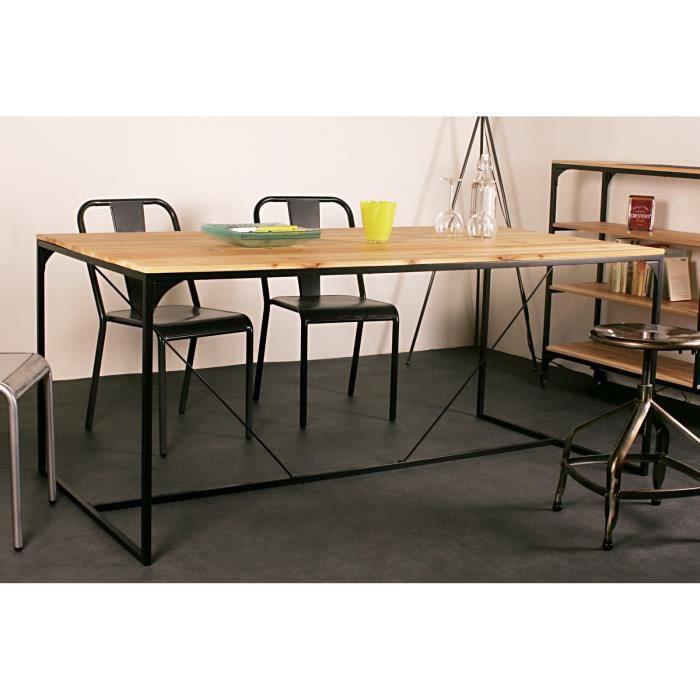 Finlandek table manger teollinen 180x90 cm en m tal et bois massif achat - Discount table a manger ...