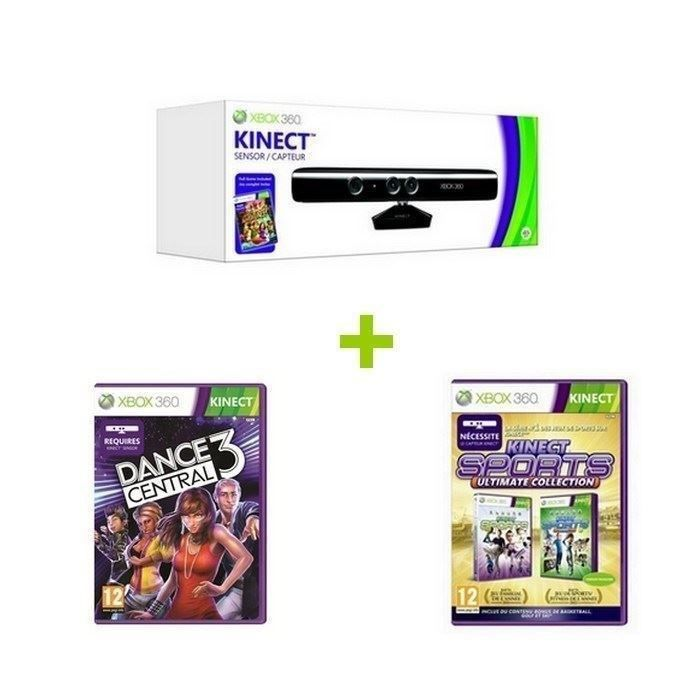 pack kinect xbox 360 2 jeux xbox 360 achat vente. Black Bedroom Furniture Sets. Home Design Ideas