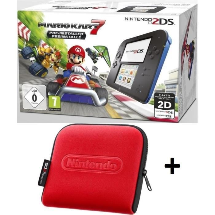 Pack 2ds bleue mario kart 7 housse rouge achat for Housse nintendo 2ds xl