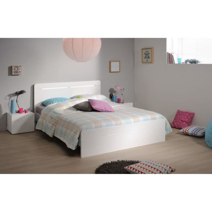 Glossy ensemble chambre 160x200 cm blanc achat vente for First chambre complete adulte 140cm laque blanc