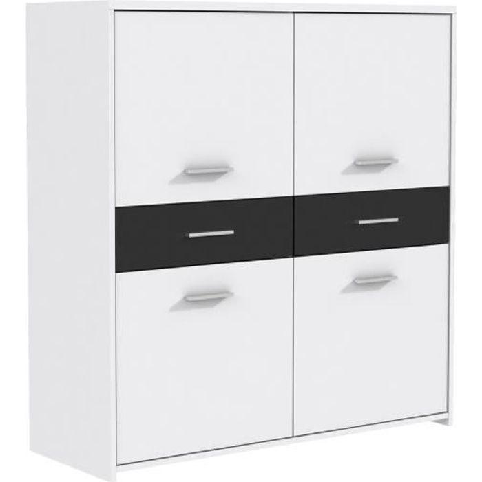 finlandek buffet haut el m 113cm blanc noir achat. Black Bedroom Furniture Sets. Home Design Ideas