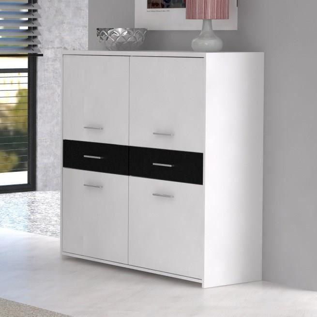 finlandek buffet haut pablo blanc noir achat vente. Black Bedroom Furniture Sets. Home Design Ideas