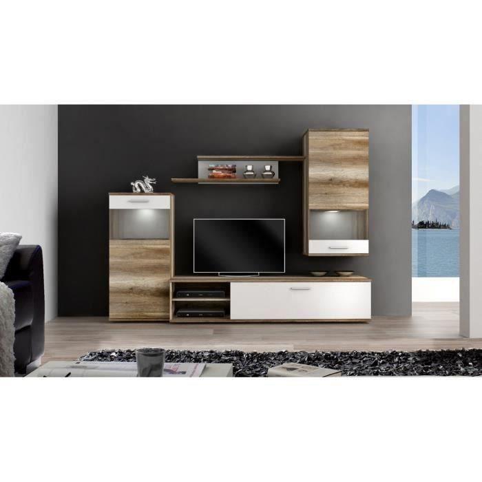 Filou meuble tv mural 213 cm d cor ch ne et blanc for Meuble tv mural 120 cm