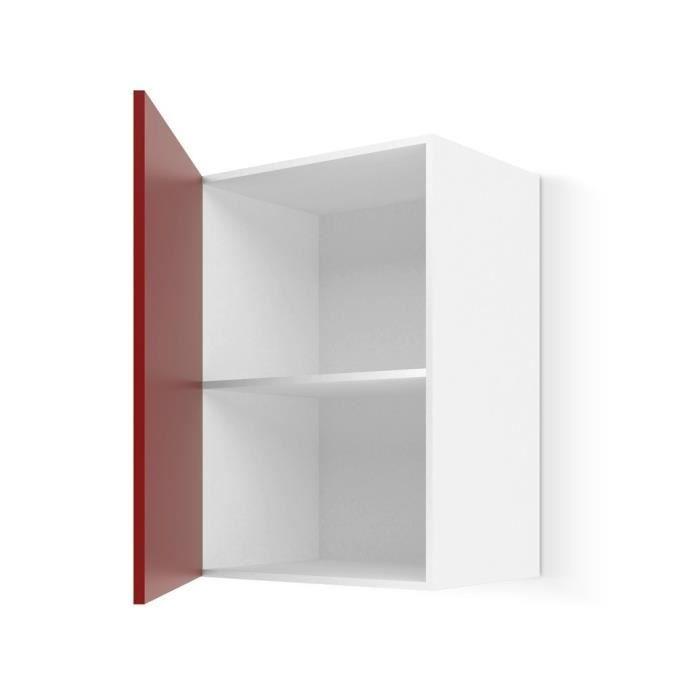 Ultra meuble haut de cuisine 40 cm rouge mat achat - Meuble cuisine 40 cm ...
