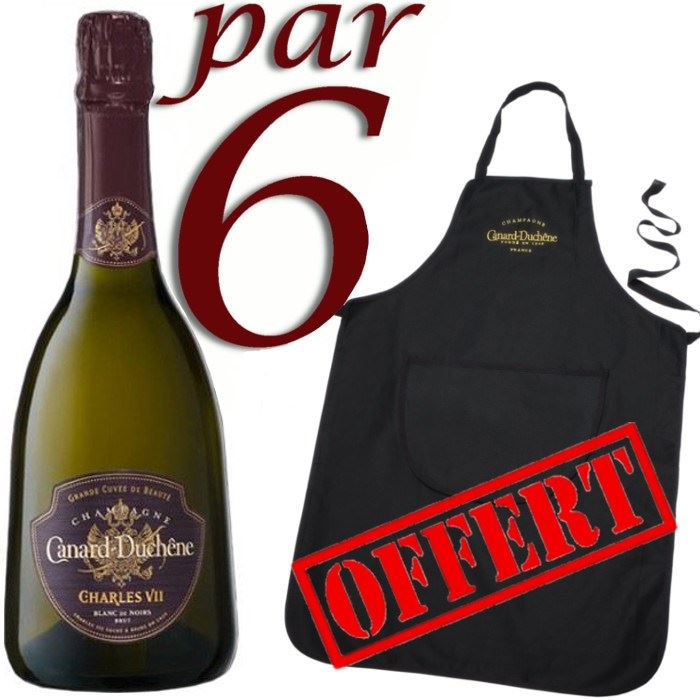 CHAMPAGNE Canard Duchêne Charles 7 BdN x6 + tablier OFFERT