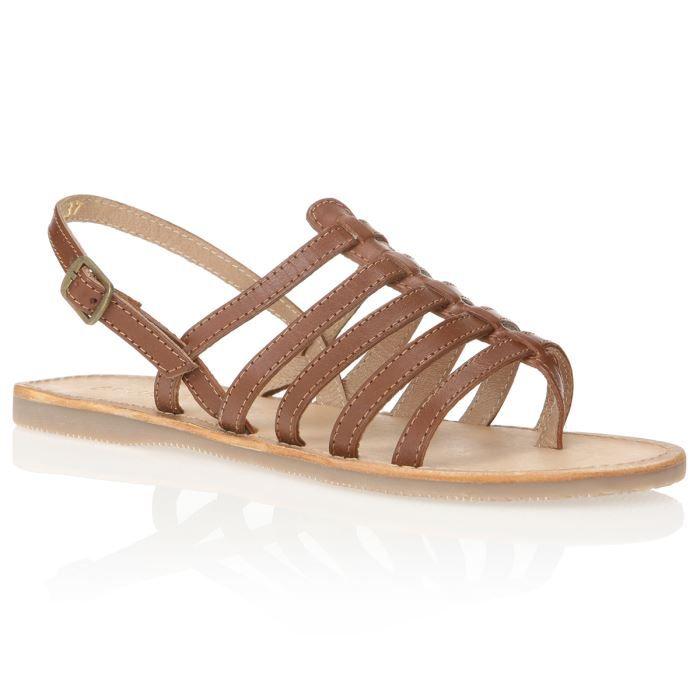 Bakajoo sandales kiwano en cuir femme femme marron achat - Sandales originales pas cher ...