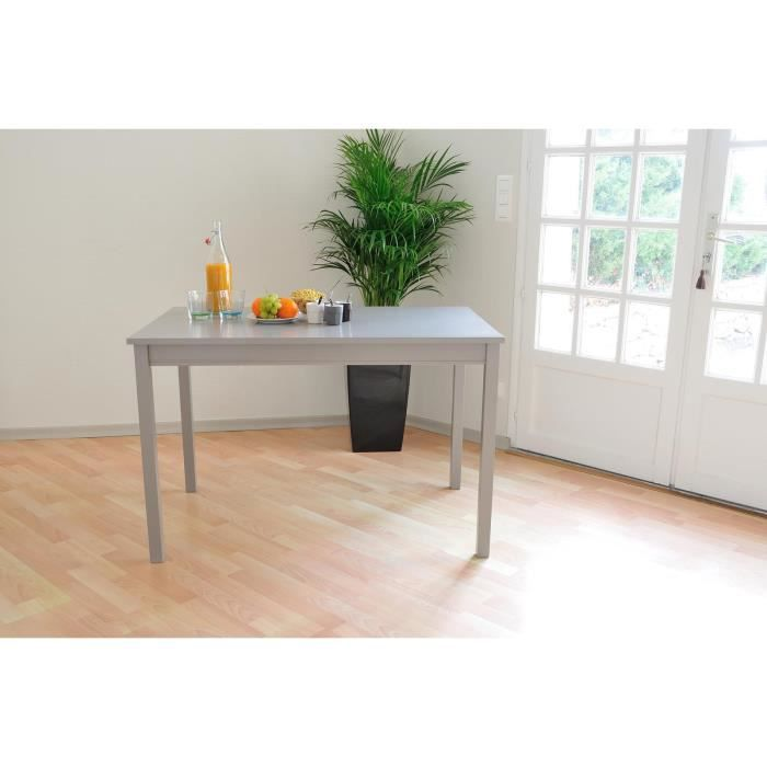 Kiefer table manger 112 cm pin laqu taupe achat for Table a manger taupe