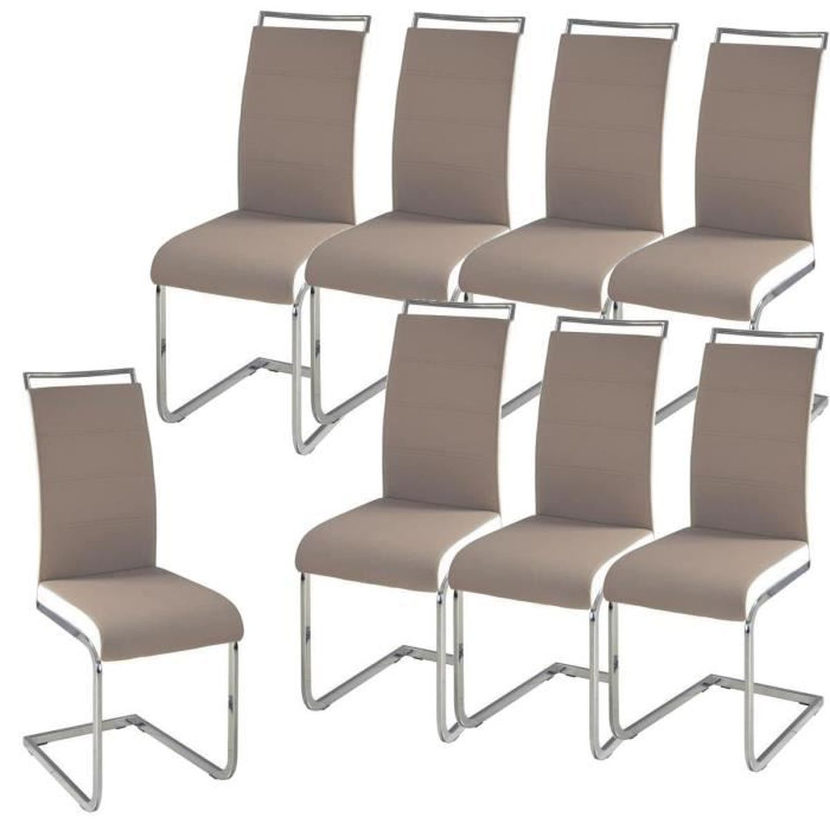 dylan lot de 8 chaises salon taupe blanc achat vente chaise soldes cdiscount. Black Bedroom Furniture Sets. Home Design Ideas