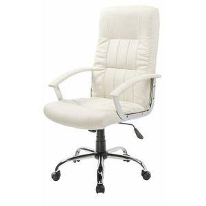CHAISE DE BUREAU FINLANDEK fauteuil de bureau LAKSYT simili blanc